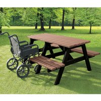 NBB Recycled Furniture NBB A-Frame Wheelchair Access Recycled Plastic Picnic Table - Light Brown
