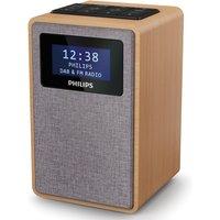 Philips FM/DAB+ Digital Clock Radio with 20 Presets, Dual Alarm & Sleep Timer - Brown TAR5005/10