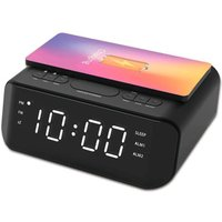 Groov-e Atlas Alarm Clock Radio with Wireless Charging Pad & USB Port