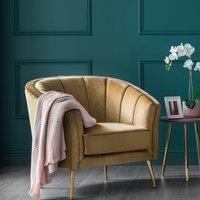 Como Accent Chair Mustard Velvet Gold Legs