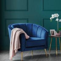 Como Accent Chair Royal Blue Velvet Gold Legs