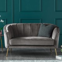 Como Two Seater Accent Chair Fossil Grey Velvet Gold Legs