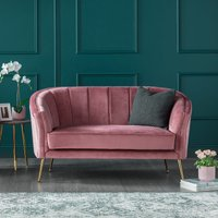 Como Two Seater Accent Chair Rose Velvet Gold Legs