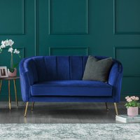 Como Two Seater Accent Chair Royal Blue Velvet Gold Legs