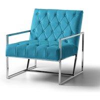 Milan Chair Velvet Lagoon Stainless Steel Legs
