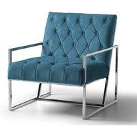 Milan Chair Velvet Peacock Stainless Steel Legs
