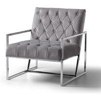 Milan Chair Velvet Grey Stainless Steel Legs