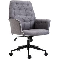 Solstice Cassini Mid Back Tufted Linen Chair - Grey