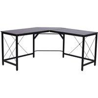 Zennor Corner L-Shaped Multi-functional Desk with Steel Frame - Black