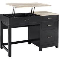 Solstice Janus Lift Top Desk - Black/Weathered Oak