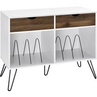 Solstice Anthe Turntable Stand with Drawers - White/Oak