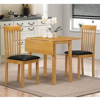 Heartlands Furniture Atlas Drop Leaf Dining Set with 2 Chairs Oak ATLADSOAK