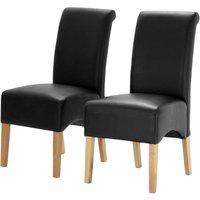 Heartlands Furniture 2 x Hilton PU Chair with Oak Legs -Black