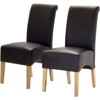 Heartlands Furniture 2 x Hilton PU Chair with Oak Legs -Brown