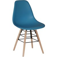 Set Of 4 Lilly Plastic Chairs with Solid Beech Legs - Dark Blue