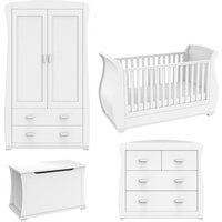 Babymore Bel White Room Set 5 Pieces Cot Bed, Chest Changer, Wardrobe, Toy Box and Pocket Mattress