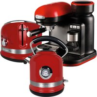 Ariette ARPK33 Moderna 1.7L Kettle, 2-Slice Toaster, and Espresso Coffee Maker - Red