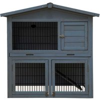 Charles Bentley FSC Two Storey Rabbit Hutch with Play Area Grey