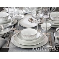 The Waterside 50 Piece Christmas in a Box Dinner Set - Silver Sparkle