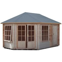 Shire Rowney Corner Log Cabin and Shed - 10 ft x 14 ft