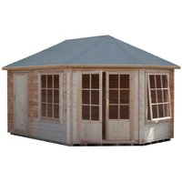 Shire Leygrove Corner Log Cabin and Shed - 10 ft x 14 ft