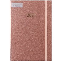 Ryman Diary A5 Week to View 2021 - Rose Gold Glitter
