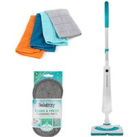 Beldray COMBO-7092 1300W Rectangular Detergent Steamer with 4 Microfibre Cloths and 4 Microfibre Scrubbers - Multi