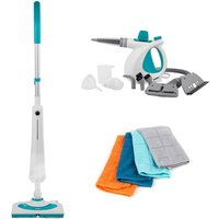 Beldray COMBO-7093 Rectangular Detergent Steamer and 10-in-1 Handheld Steam Cleaner with 4 Microfibre Cloths - Multi