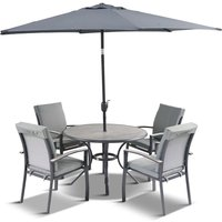 LG Outdoor Turin 4 Seat Dining Set with 2.5m Parasol