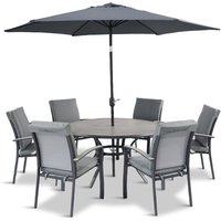 LG Outdoor Turin 6 Seat Dining Set with 3m Parasol