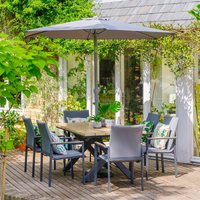 LG Outdoor Stockholm 6 Seat Dining Set with Deluxe 3m Parasol