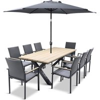 LG Outdoor Stockholm 8 Seat Dining Set with Deluxe 2m x 3m Parasol
