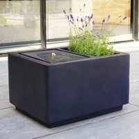 Ivyline Outdoor Contemporary LED Cube Water Feature with Planter - Granite