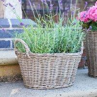 Ivyline Polyrattan Lined 24 x 33cm Natural Basket Planter