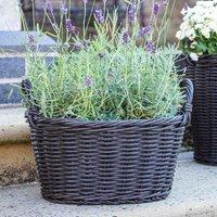 Ivyline Polyrattan Lined 28 x 38cm Willow Basket Planter