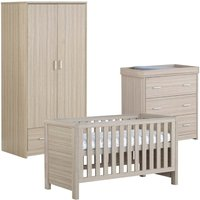 Babymore Luno Oak Effect 3 Piece Set Cot Bed Chest Changer and Wardrobe