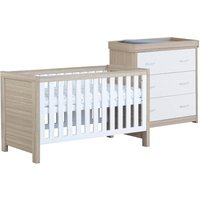 Babymore Luno White Oak Effect 2 Piece Set Cot Bed and Chest Changer