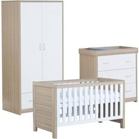 Babymore Luno White Oak Effect 3 Piece Set Cot Bed Chest Changer and Wardrobe