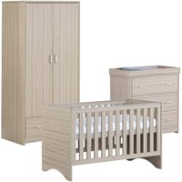 Babymore Veni Oak Effect 3 Piece Set Cot Bed Chest Changer and Wardrobe
