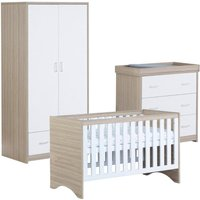 Babymore Veni White Oak Effect Room 3 Piece Set Cot Bed Chest Changer and Wardrobe