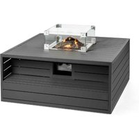 Happy Cocooning Aluminium Square Cocoon Fire Pit with Burner and Glass Screen - Anthracite