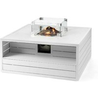 Happy Cocooning Aluminium Square Cocoon Fire Pit with Burner and Glass Screen - White