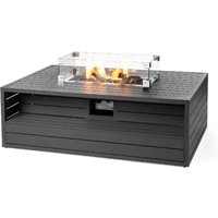 Happy Cocooning Aluminium Rectangular Cocoon Fire Pit with Burner and Glass Screen - Anthracite