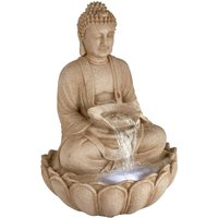 The Outdoor Living Company 86cm Buddha Water Feature with White LEDs - Sandstone effect