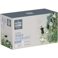 The Outdoor Living Company 20 Clear Bulb Festoon Party Lights - 5 Warm White LED per Bulb