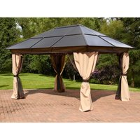 Glendale Rectangle 3x4m Polycarbonate Gazebo - Mocha