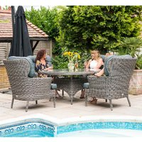 Katie Blake Mayberry 4 Chair Rattan Dining Set - Grey