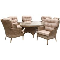 Katie Blake Mayberry 6 Chair Rattan Dining Set - Natural