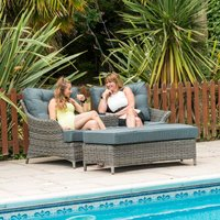 Katie Blake Mayberry 2 Seat Rattan Lovers Chair - Grey