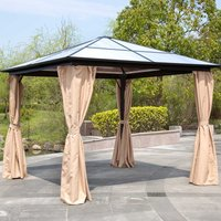 Katie Blake Aspen 3m x 3m Gazebo with Polycarbonate Roof - Taupe